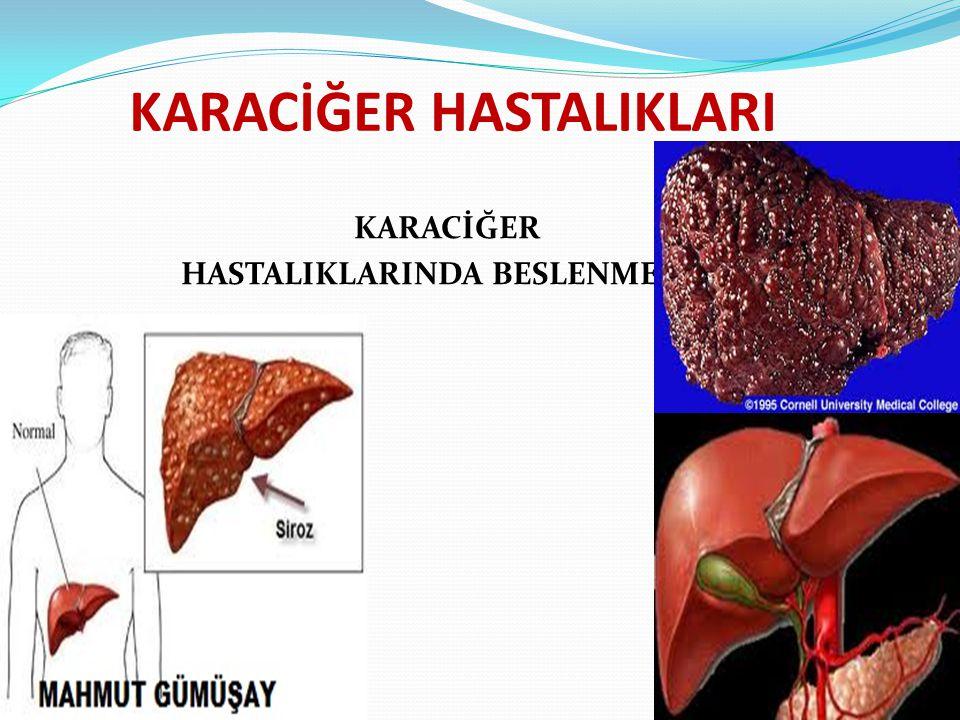 Karaciğerin Anatomisi ve Fizyolojisi Vücudun en büyük ve metabolik açıdan kompleks organı olan karaciğer vücut ağırlığının %2'sini oluşturur.Karaciğer, sağ ve sol olmak üzere iki loba ayrılır.Her iki ana lob da ikişer parçaya bölünür.Sol lob ligament falsiforme tarafından ikiye,sağ lob orta çizgiden ayrılarak ön ve arka loba ayrılır.Karaciğer loblarına dağılan safra kanalı,hepatik arter,vena porta ve lenfatikler en uçta bağ dokusu ile çevrelenmiş bir ünite(porta triadı) oluşturur.