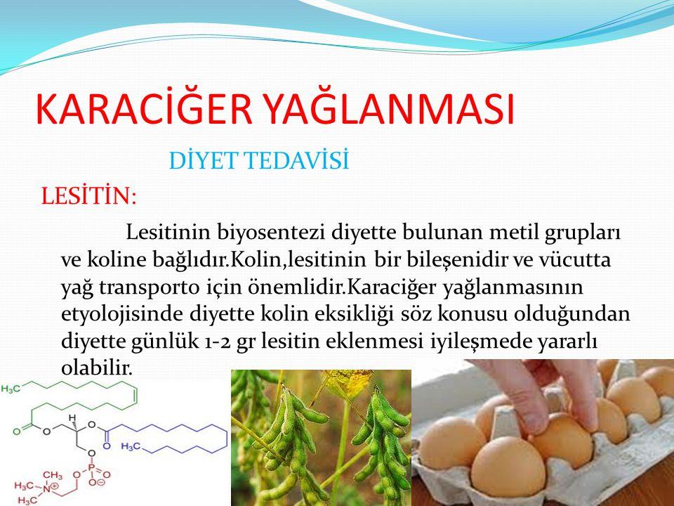 KARACİĞER YAĞLANMASI DİYET TEDAVİSİ LESİTİN: Lesitinin biyosentezi diyette bulunan metil grupları ve koline bağlıdır.Kolin,lesitinin bir bileşenidir v