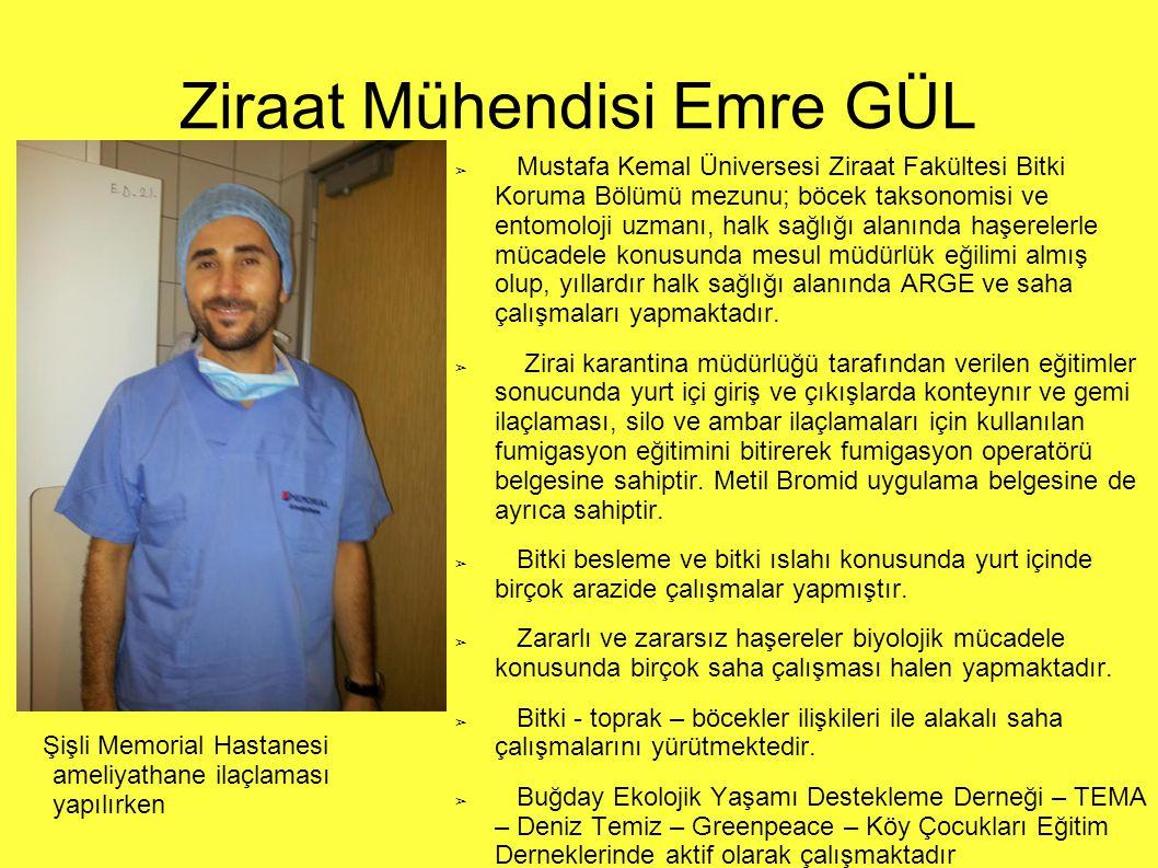 Kimyager Umut BÜLBÜL ➔ Mustafa Kemal Üniverstesi Fen Edebiyat Fakültesi Kimya bölümü mezunu; halk sağlığı alanında haşerelerle mücadele konusunda mesul müdürlük eğilimi almış olup, yıllardır halk sağlığı alanında ARGE çalışmaları yapmaktadır.