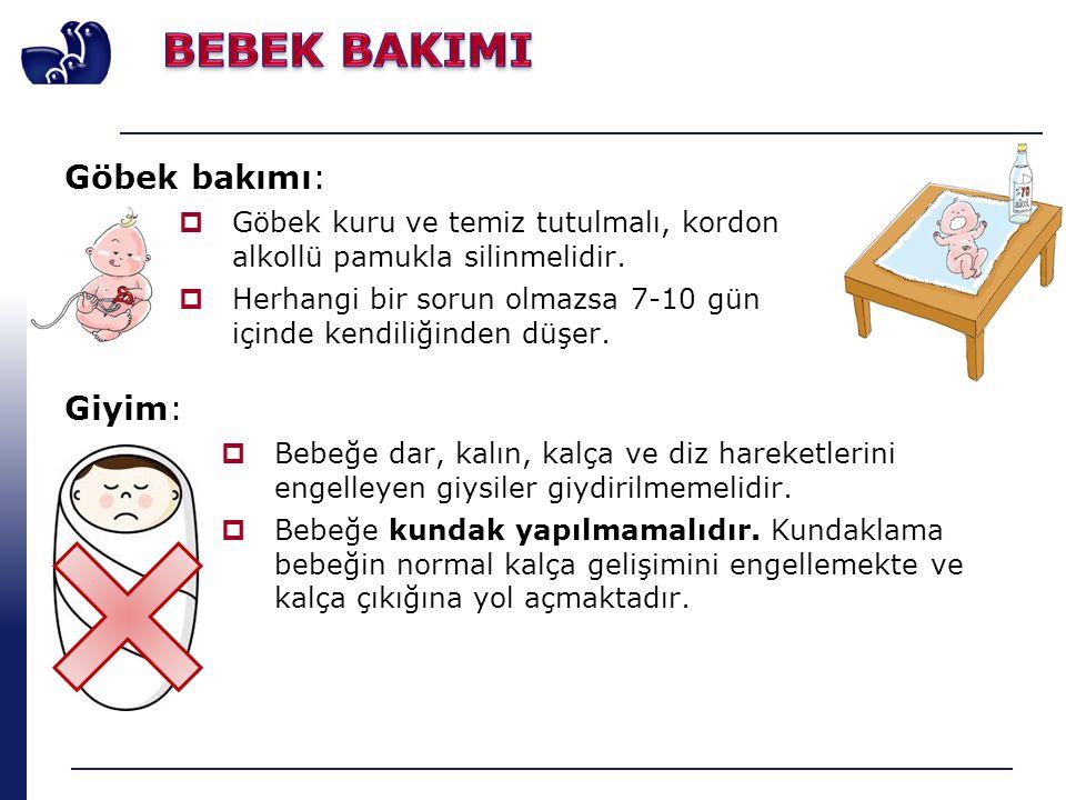 Giyim:  Bebeğe dar, kalın, kalça ve diz hareketlerini engelleyen giysiler giydirilmemelidir.  Bebeğe kundak yapılmamalıdır. Kundaklama bebeğin norma