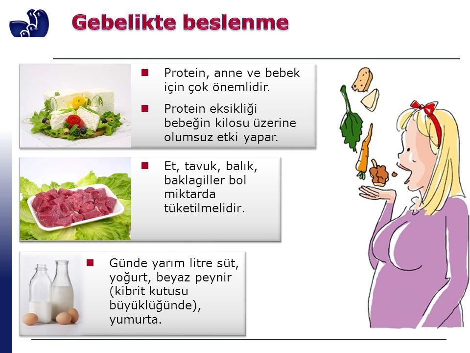 Protein, anne ve bebek için çok önemlidir. Protein eksikliği bebeğin kilosu üzerine olumsuz etki yapar. Günde yarım litre süt, yoğurt, beyaz peynir (k