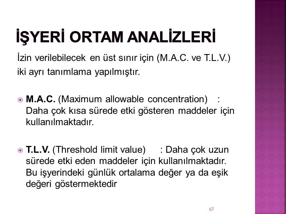 İzin verilebilecek en üst sınır için (M.A.C.ve T.L.V.) iki ayrı tanımlama yapılmıştır.