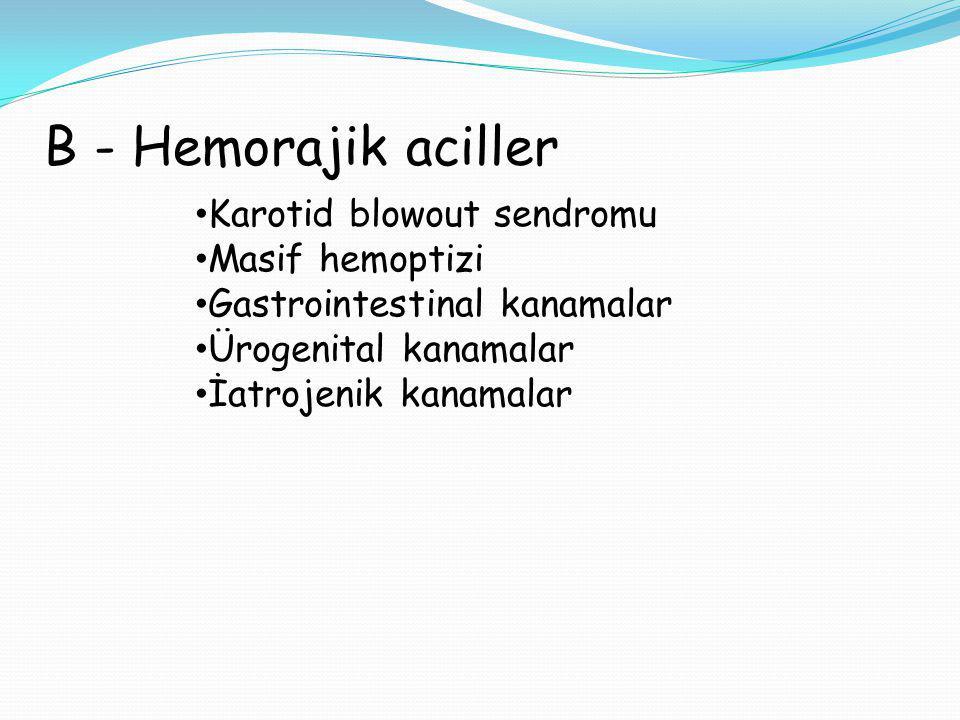 B - Hemorajik aciller Karotid blowout sendromu Masif hemoptizi Gastrointestinal kanamalar Ürogenital kanamalar İatrojenik kanamalar