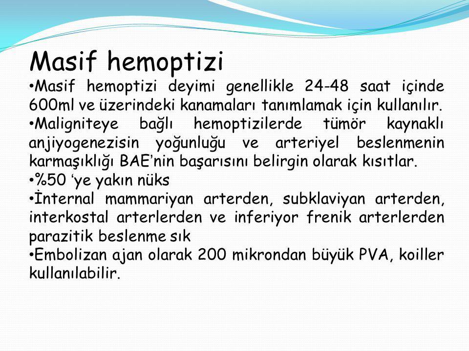 Masif hemoptizi Masif hemoptizi deyimi genellikle 24-48 saat içinde 600ml ve üzerindeki kanamaları tanımlamak için kullanılır. Maligniteye bağlı hemop