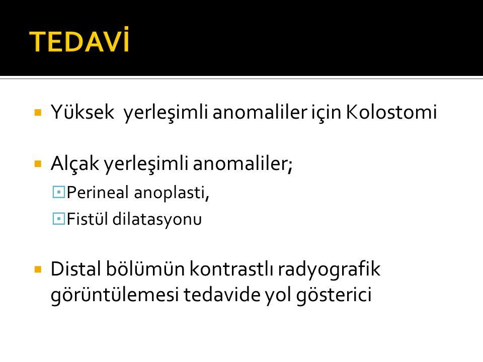  Yüksek yerleşimli anomaliler için Kolostomi  Alçak yerleşimli anomaliler;  Perineal anoplasti,  Fistül dilatasyonu  Distal bölümün kontrastlı radyografik görüntülemesi tedavide yol gösterici