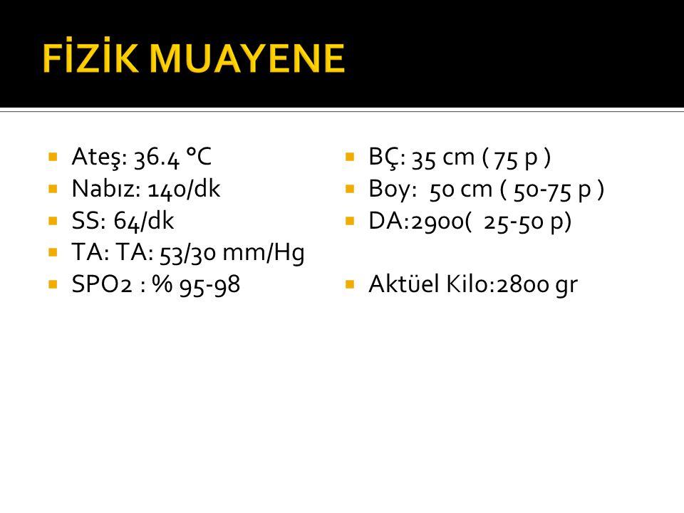  Ateş: 36.4 °C  Nabız: 140/dk  SS: 64/dk  TA: TA: 53/30 mm/Hg  SPO2 : % 95-98  BÇ: 35 cm ( 75 p )  Boy: 50 cm ( 50-75 p )  DA:2900( 25-50 p)  Aktüel Kilo:2800 gr