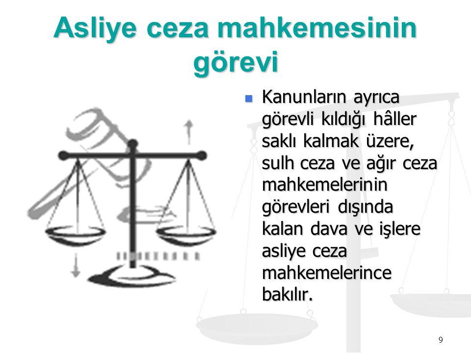 9 Asliye ceza mahkemesinin görevi Kanunların ayrıca görevli kıldığı hâller saklı kalmak üzere, sulh ceza ve ağır ceza mahkemelerinin görevleri dışında