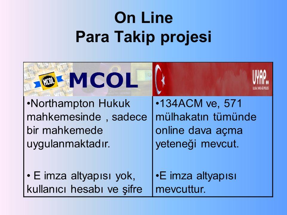 On Line Para Takip projesi MCOLUYAP Northampton Hukuk mahkemesinde, sadece bir mahkemede uygulanmaktadır.