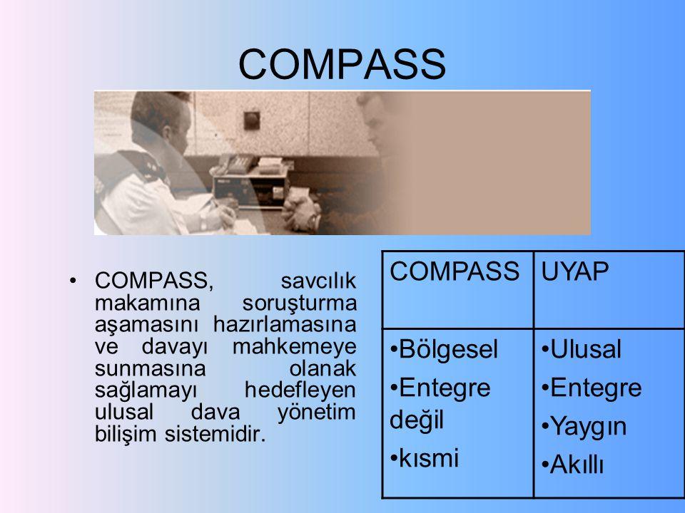 COMPASS COMPASS, savcılık makamına soruşturma aşamasını hazırlamasına ve davayı mahkemeye sunmasına olanak sağlamayı hedefleyen ulusal dava yönetim bilişim sistemidir.