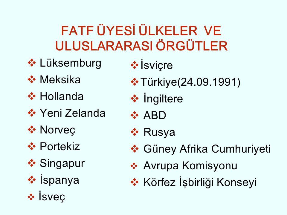 FATF ÜYESİ ÜLKELER VE ULUSLARARASI ÖRGÜTLER  Lüksemburg  Meksika  Hollanda  Yeni Zelanda  Norveç  Portekiz  Singapur  İspanya  İsveç  İsviçr