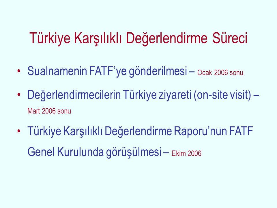 Türkiye Karşılıklı Değerlendirme Süreci Sualnamenin FATF'ye gönderilmesi – Ocak 2006 sonu Değerlendirmecilerin Türkiye ziyareti (on-site visit) – Mart