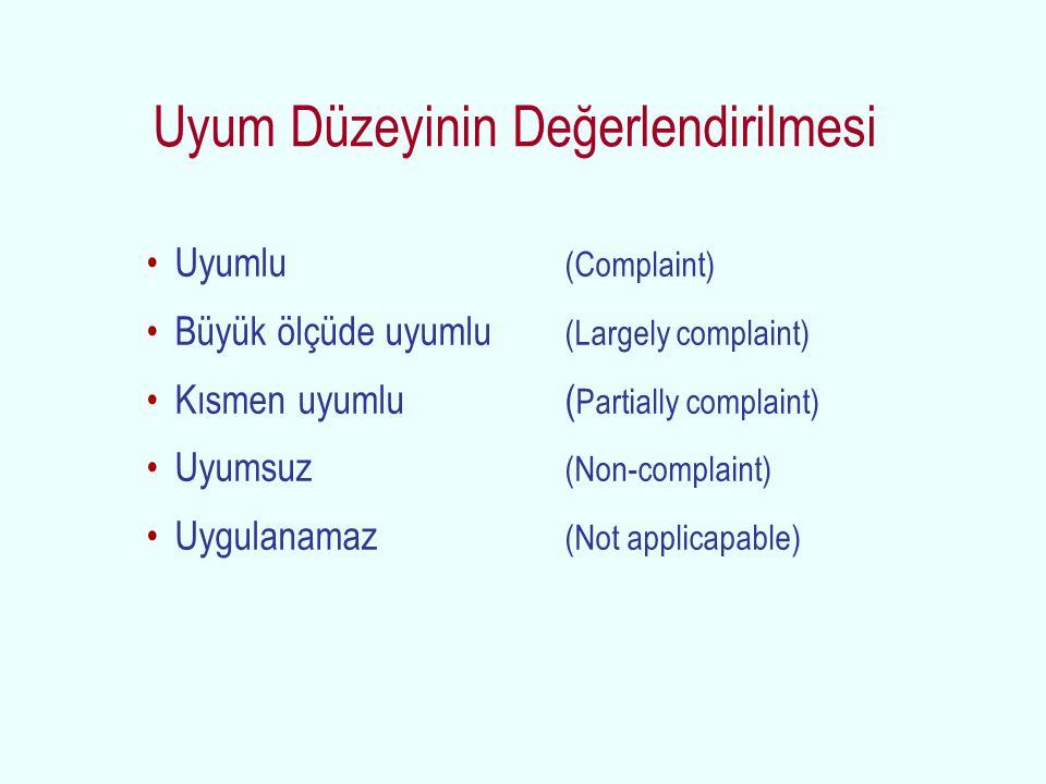 Uyumlu (Complaint) Büyük ölçüde uyumlu (Largely complaint) Kısmen uyumlu ( Partially complaint) Uyumsuz (Non-complaint) Uygulanamaz (Not applicapable)