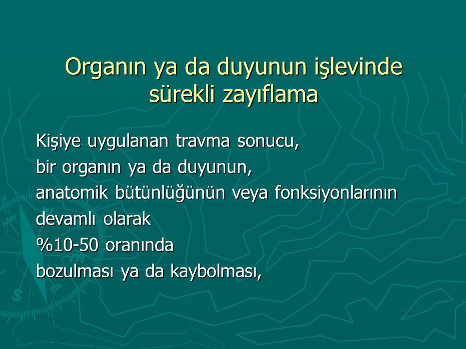 Organın ya da duyunun işlevinde sürekli zayıflama Kişiye uygulanan travma sonucu, bir organın ya da duyunun, anatomik b ü t ü nl ü ğ ü n ü n veya fonksiyonlarının devamlı olarak %10-50 oranında bozulması ya da kaybolması,
