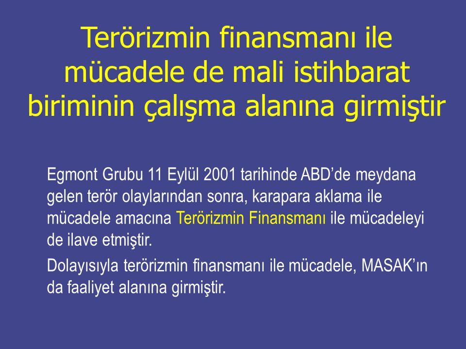 Terörizmin finansmanı ile mücadele de mali istihbarat biriminin çalışma alanına girmiştir Egmont Grubu 11 Eylül 2001 tarihinde ABD'de meydana gelen te