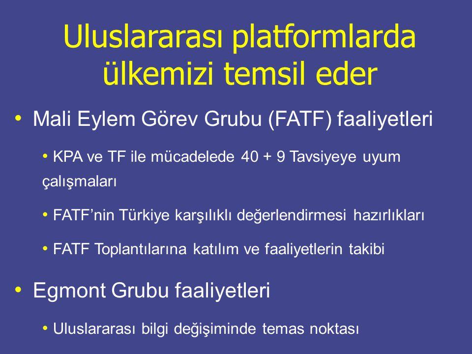 Uluslararası platformlarda ülkemizi temsil eder Mali Eylem Görev Grubu (FATF) faaliyetleri KPA ve TF ile mücadelede 40 + 9 Tavsiyeye uyum çalışmaları