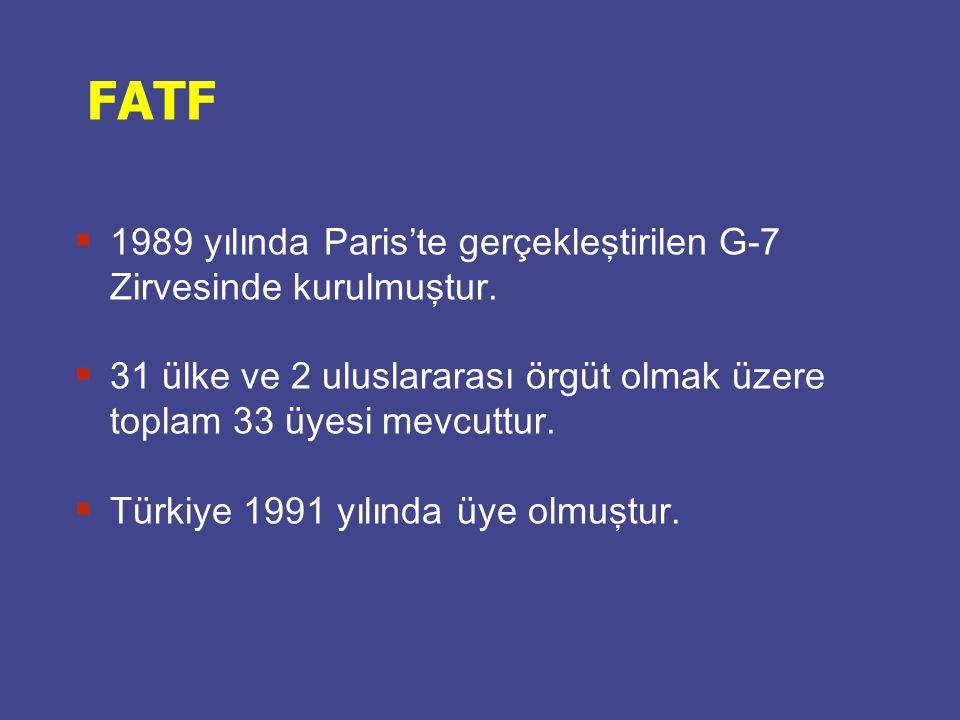 FATF  1989 yılında Paris'te gerçekleştirilen G-7 Zirvesinde kurulmuştur.  31 ülke ve 2 uluslararası örgüt olmak üzere toplam 33 üyesi mevcuttur.  T