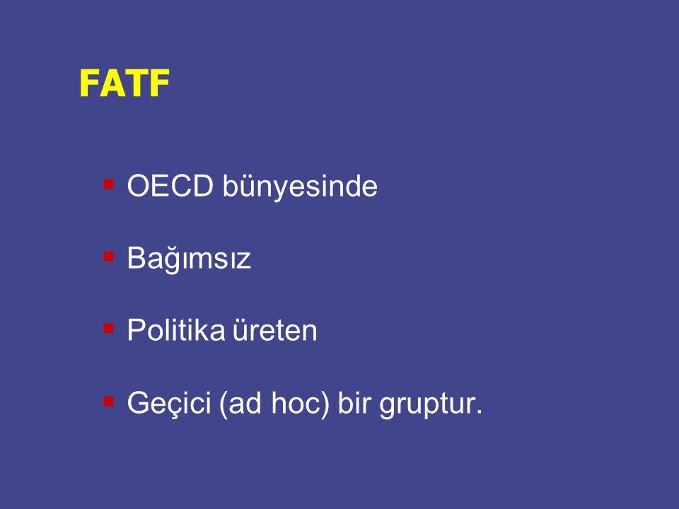  OECD bünyesinde  Bağımsız  Politika üreten  Geçici (ad hoc) bir gruptur. FATF
