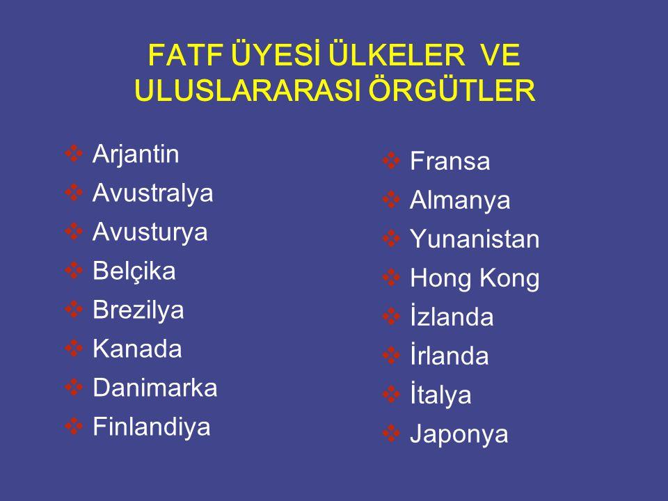 FATF ÜYESİ ÜLKELER VE ULUSLARARASI ÖRGÜTLER   Arjantin   Avustralya   Avusturya   Belçika   Brezilya   Kanada   Danimarka   Finlandiya