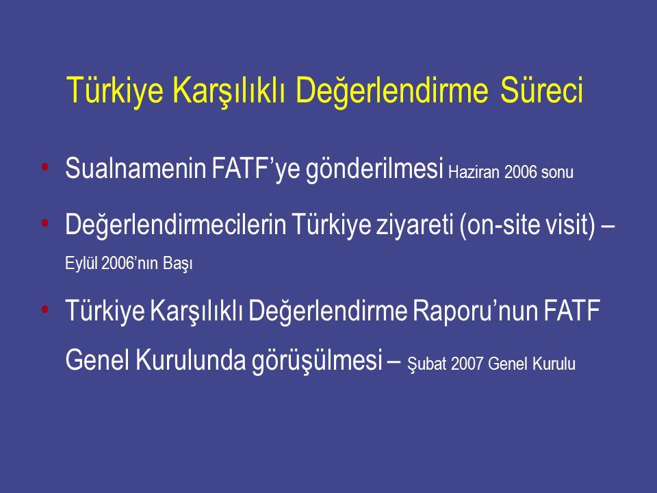 Türkiye Karşılıklı Değerlendirme Süreci Sualnamenin FATF'ye gönderilmesi Haziran 2006 sonu Değerlendirmecilerin Türkiye ziyareti (on-site visit) – Eyl