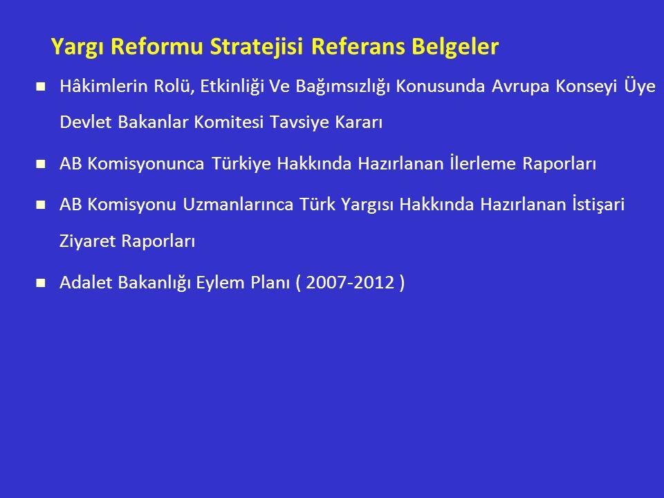 Yargı Reformu Stratejisi Referans Belgeler Hâkimlerin Rolü, Etkinliği Ve Bağımsızlığı Konusunda Avrupa Konseyi Üye Devlet Bakanlar Komitesi Tavsiye Kararı AB Komisyonunca Türkiye Hakkında Hazırlanan İlerleme Raporları AB Komisyonu Uzmanlarınca Türk Yargısı Hakkında Hazırlanan İstişari Ziyaret Raporları Adalet Bakanlığı Eylem Planı ( 2007-2012 )
