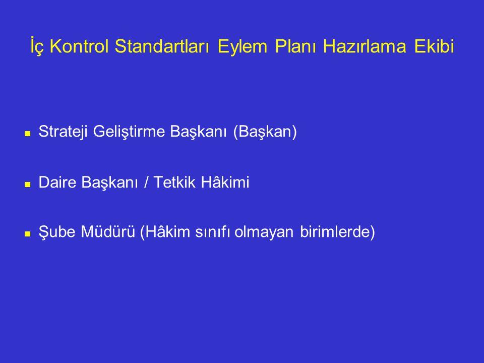 İç Kontrol Standartları Eylem Planı Hazırlama Ekibi Strateji Geliştirme Başkanı (Başkan) Daire Başkanı / Tetkik Hâkimi Şube Müdürü (Hâkim sınıfı olmayan birimlerde)