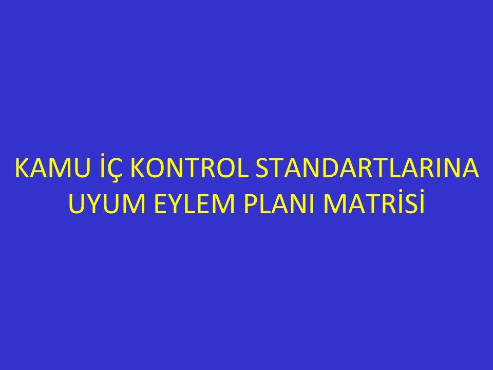 KAMU İÇ KONTROL STANDARTLARINA UYUM EYLEM PLANI MATRİSİ