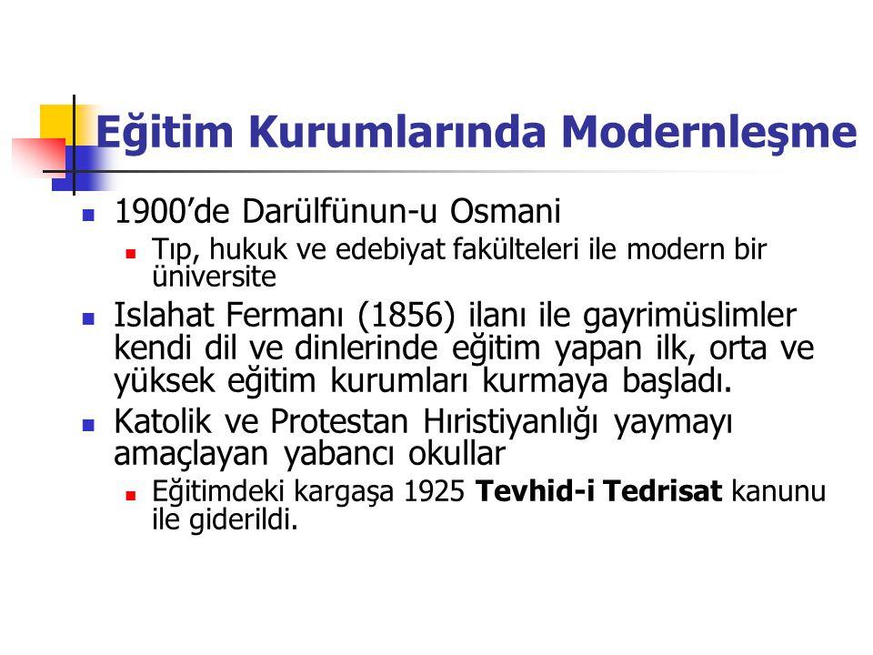 Eğitim Kurumlarında Modernleşme 1900'de Darülfünun-u Osmani Tıp, hukuk ve edebiyat fakülteleri ile modern bir üniversite Islahat Fermanı (1856) ilanı