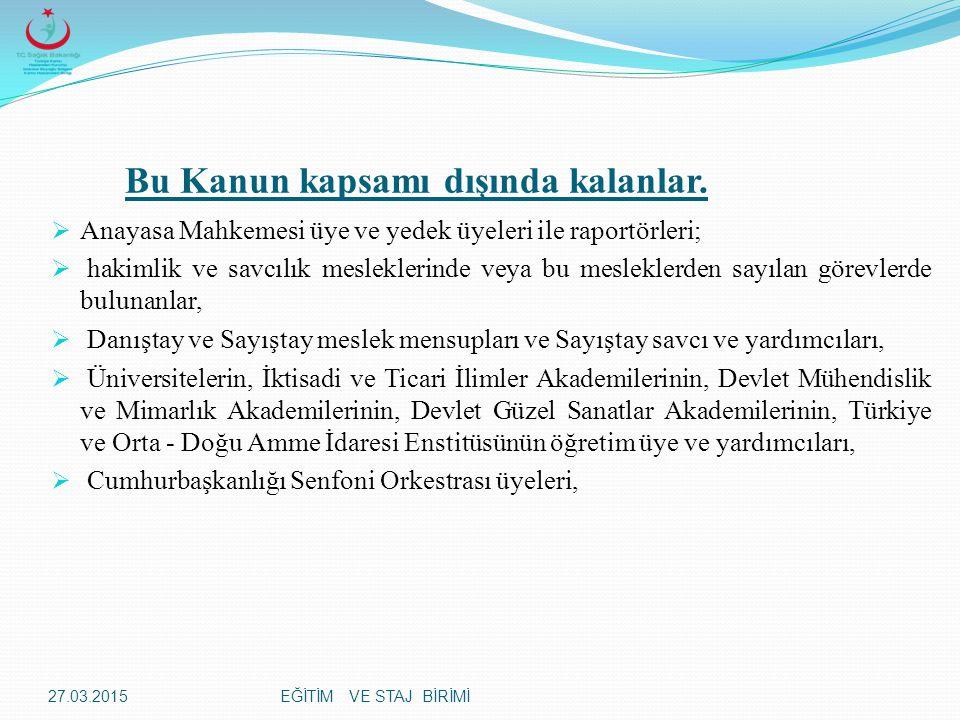 EĞİTİM VE STAJ BİRİMİ Türkiye Cumhuriyeti Anayasasına, Atatürk İnkılap ve İlkelerine, Anayasada ifadesi bulunan Türk Milliyetçiliğine sadakatle bağlı kalacağıma; Türkiye Cumhuriyeti kanunlarını milletin hizmetinde olarak tarafsız ve eşitlik ilkelerine bağlı kalarak uygulayacağıma; Türk Milletinin milli, ahlaki, insani, manevi ve kültürel değerlerini benimseyip, koruyup bunları geliştirmek için çalışacağıma; insan haklarına ve Anayasanın temel ilkelerine dayanan milli, demokratik, laik, bir hukuk devleti olan Türkiye Cumhuriyetine karşı görev ve sorumluluklarını bilerek, bunları davranış halinde göstereceğime namusum ve şerefim üzerine yemin ederim.