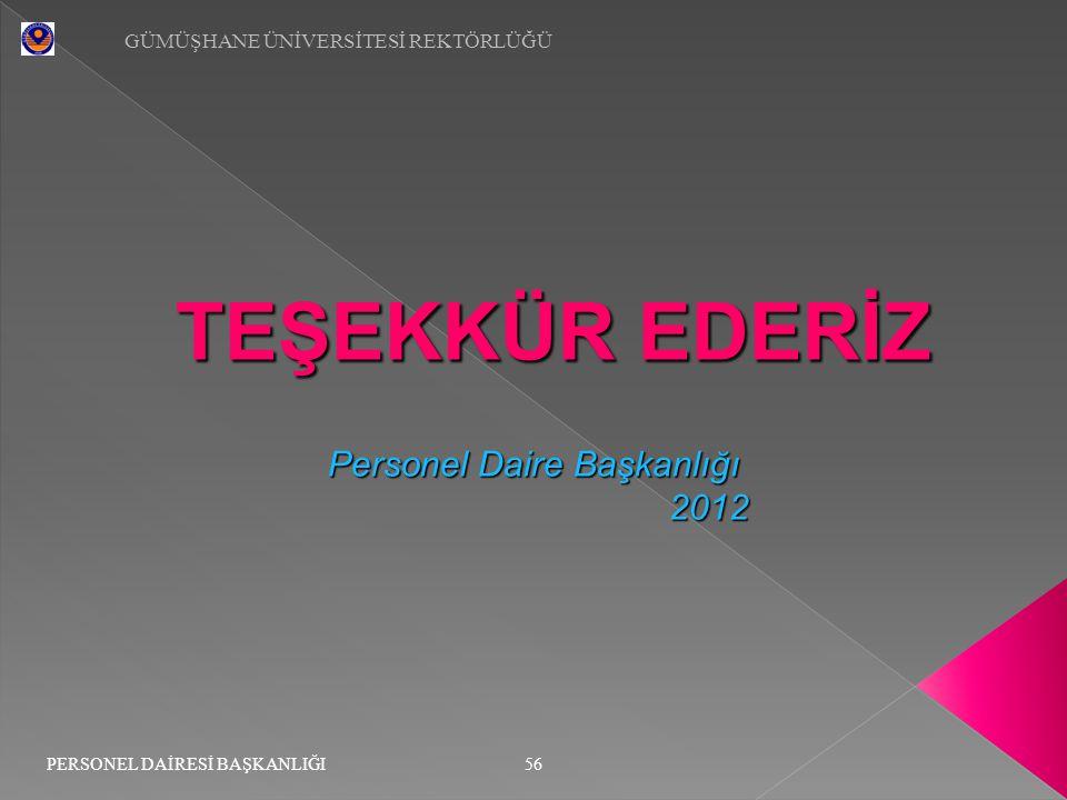 TEŞEKKÜR EDERİZ Personel Daire Başkanlığı 2012 2012 56 GÜMÜŞHANE ÜNİVERSİTESİ REKTÖRLÜĞÜ PERSONEL DAİRESİ BAŞKANLIĞI