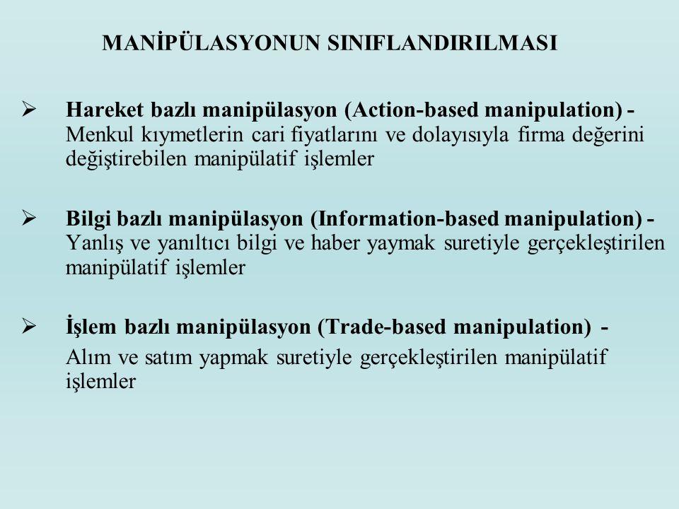 MANİPÜLASYONUN SINIFLANDIRILMASI  Hareket bazlı manipülasyon (Action-based manipulation) - Menkul kıymetlerin cari fiyatlarını ve dolayısıyla firma d