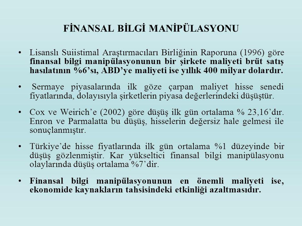 FİNANSAL BİLGİ MANİPÜLASYONU Lisanslı Suiistimal Araştırmacıları Birliğinin Raporuna (1996) göre finansal bilgi manipülasyonunun bir şirkete maliyeti