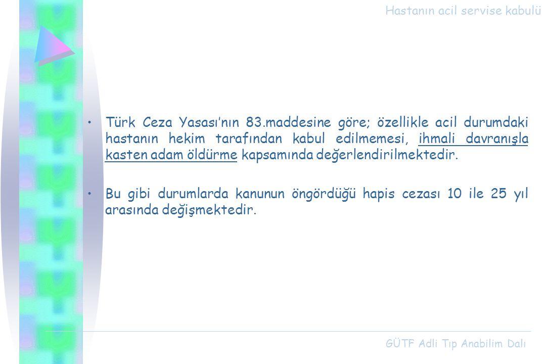 Hastanın acil servise kabulü Türk Ceza Yasası'nın 83.maddesine göre; özellikle acil durumdaki hastanın hekim tarafından kabul edilmemesi, ihmali davra