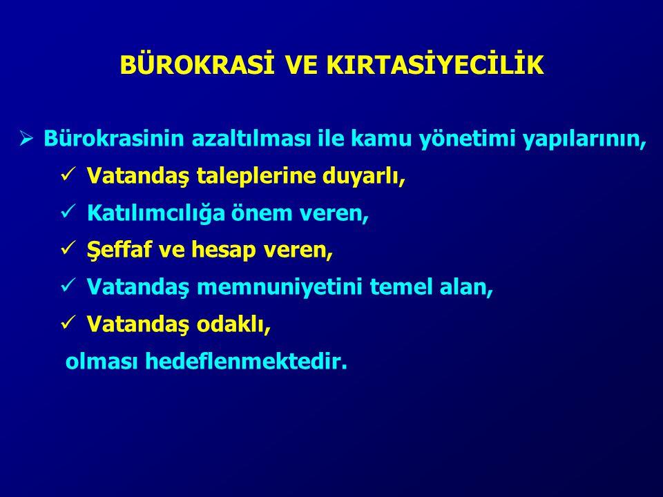  Bürokrasinin azaltılması ile kamu yönetimi yapılarının, Vatandaş taleplerine duyarlı, Katılımcılığa önem veren, Şeffaf ve hesap veren, Vatandaş memn