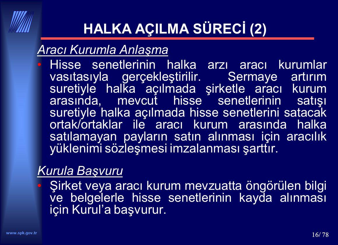 www.spk.gov.tr 17/ 78 Kurul'da İnceleme ve Kayda Alma Kurul başvuruları kamunun aydınlatılması çerçevesinde inceler.