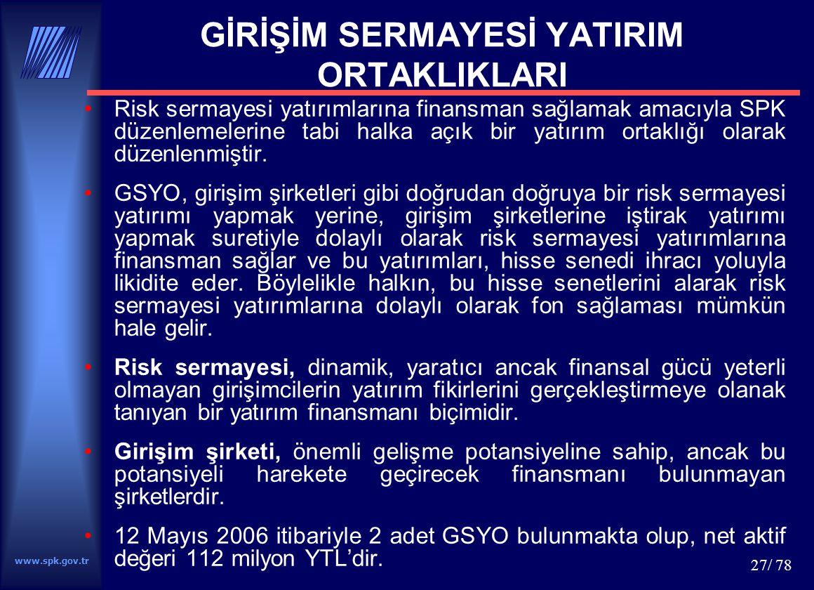 www.spk.gov.tr 27/ 78 GİRİŞİM SERMAYESİ YATIRIM ORTAKLIKLARI Risk sermayesi yatırımlarına finansman sağlamak amacıyla SPK düzenlemelerine tabi halka a