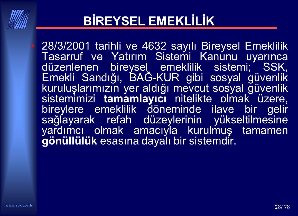 www.spk.gov.tr 28/ 78 BİREYSEL EMEKLİLİK 28/3/2001 tarihli ve 4632 sayılı Bireysel Emeklilik Tasarruf ve Yatırım Sistemi Kanunu uyarınca düzenlenen bi