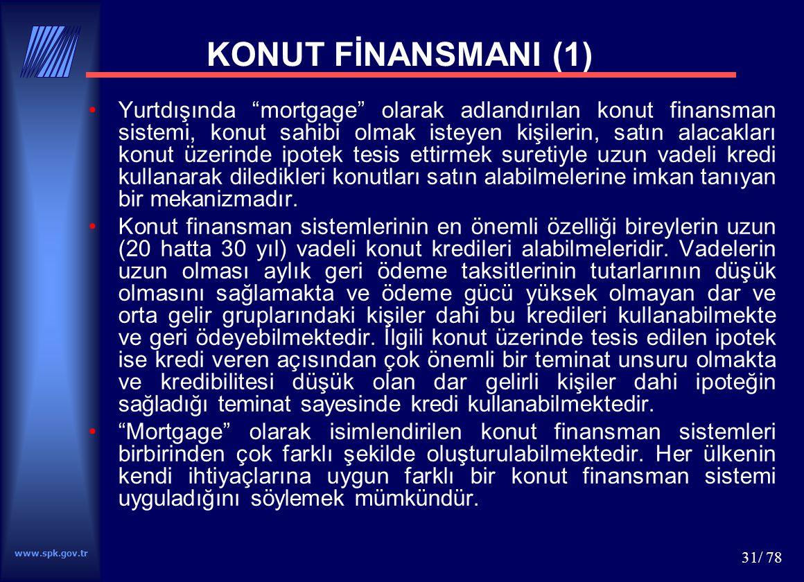 www.spk.gov.tr 32/ 78 Türkiye için önerilen konut finansman sistemi bankaların, tüketici finansman şirketlerinin, özel finans kurumlarının ve finansal kiralama şirketlerinin kredi veya finansal kiralama yolu ile tüketicilere konut finansmanı sağlayabilmesini içermektedir.