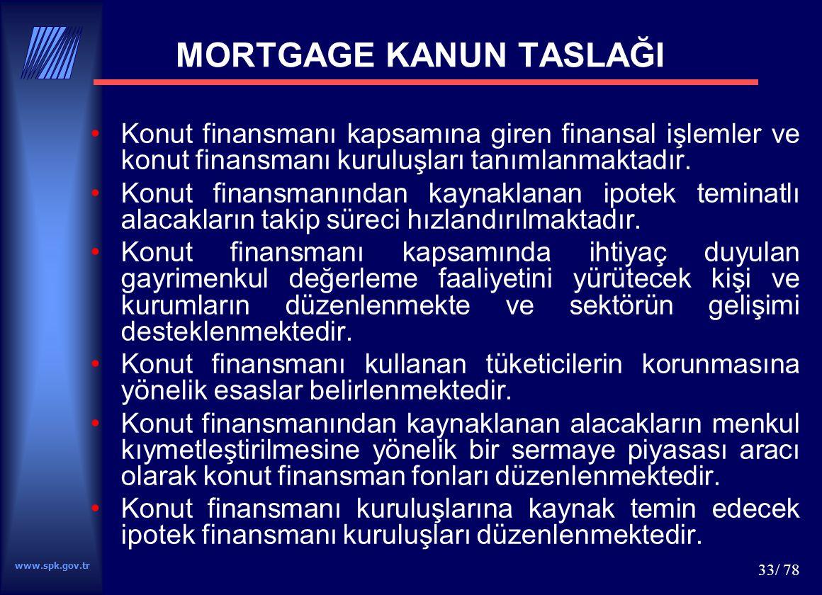 www.spk.gov.tr 33/ 78 MORTGAGE KANUN TASLAĞI Konut finansmanı kapsamına giren finansal işlemler ve konut finansmanı kuruluşları tanımlanmaktadır. Konu
