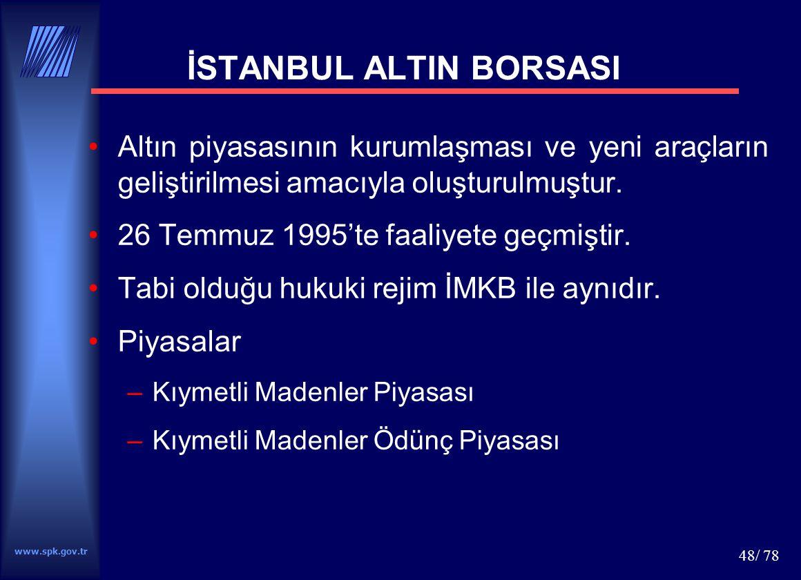 www.spk.gov.tr 49/ 78 VADELİ İŞLEM VE OPSİYON BORSASI Aralık 1999'da yapılan Kanun değişikliği 19.10.2001 tarihli Bakanlar Kurulu kararı ile kuruluş kararı verilmiştir.