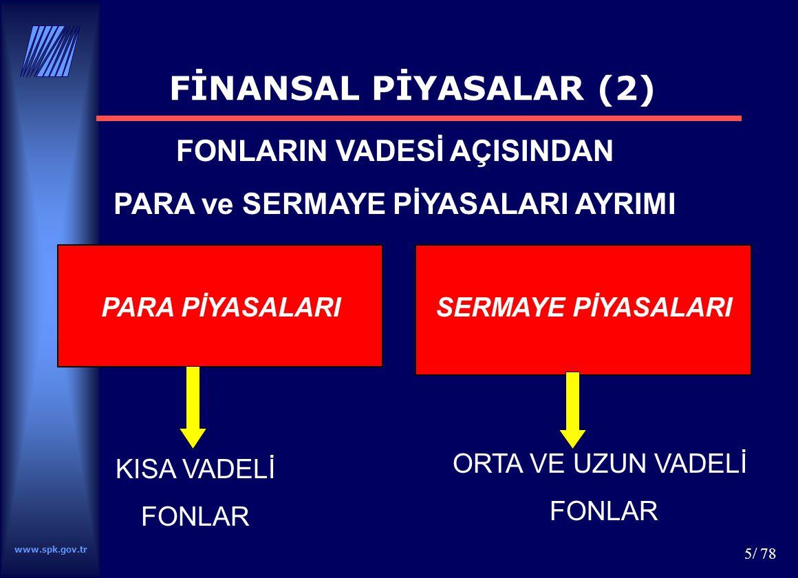 www.spk.gov.tr 6/ 78 PARA PİYASALARISERMAYE PİYASALARI FON AKTARIM YÖNTEMİ AÇISINDAN PARA ve SERMAYE PİYASALARI AYRIMI FİNANSAL PİYASALAR (3) DOLAYLI FİNANSMAN (Pasif Yatırımcı) DOĞRUDAN FİNANSMAN (Aktif Yatırımcı)
