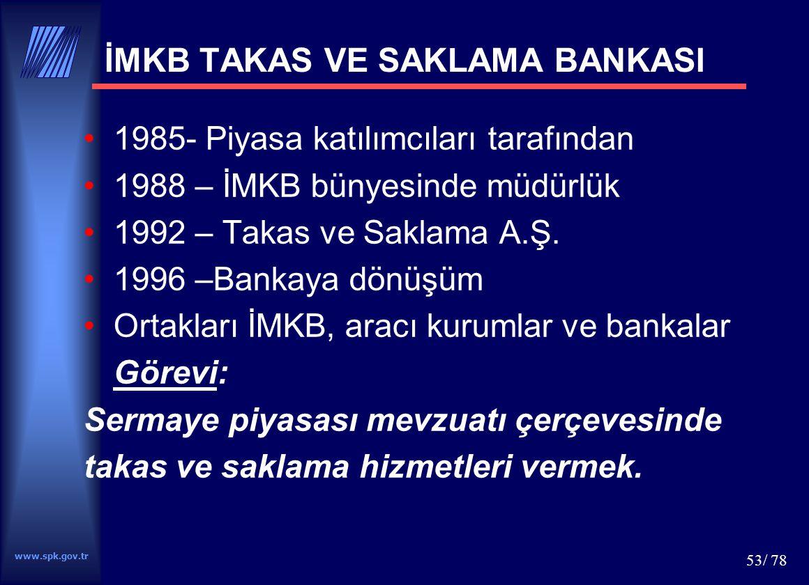 www.spk.gov.tr 53/ 78 İMKB TAKAS VE SAKLAMA BANKASI 1985- Piyasa katılımcıları tarafından 1988 – İMKB bünyesinde müdürlük 1992 – Takas ve Saklama A.Ş.