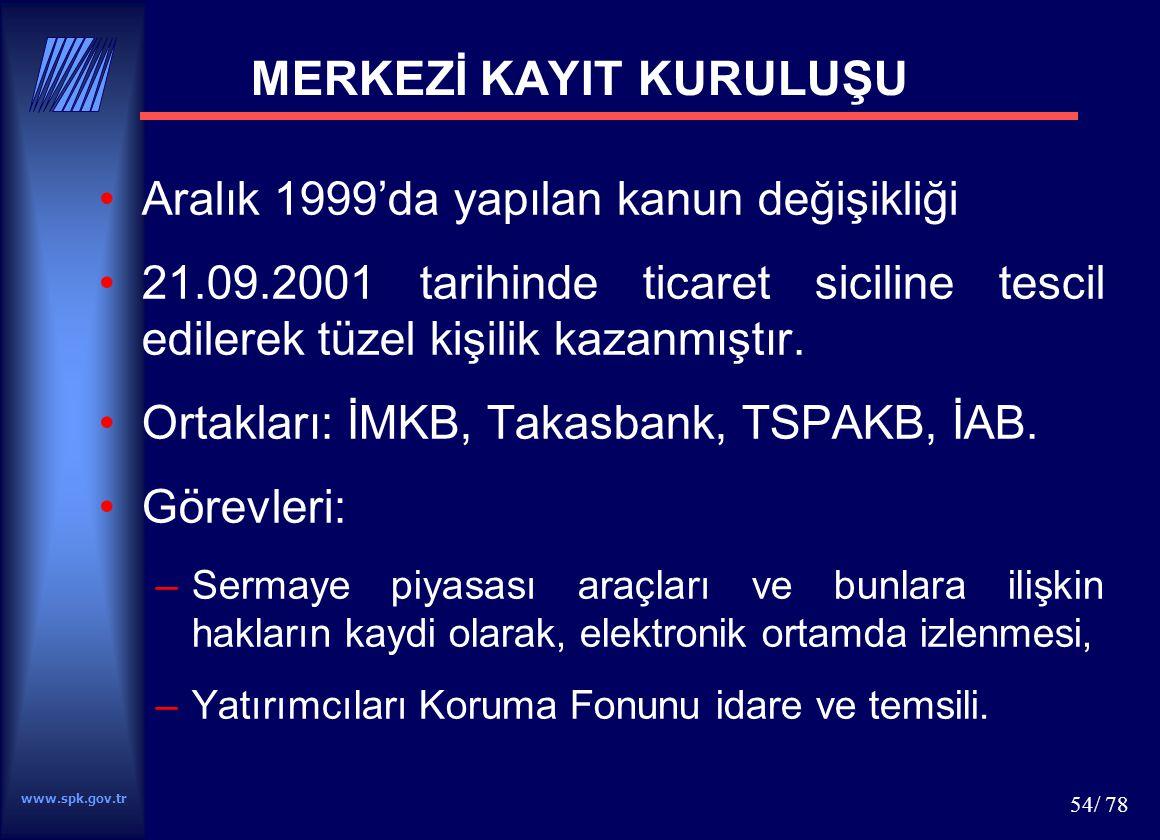 www.spk.gov.tr 54/ 78 MERKEZİ KAYIT KURULUŞU Aralık 1999'da yapılan kanun değişikliği 21.09.2001 tarihinde ticaret siciline tescil edilerek tüzel kişi