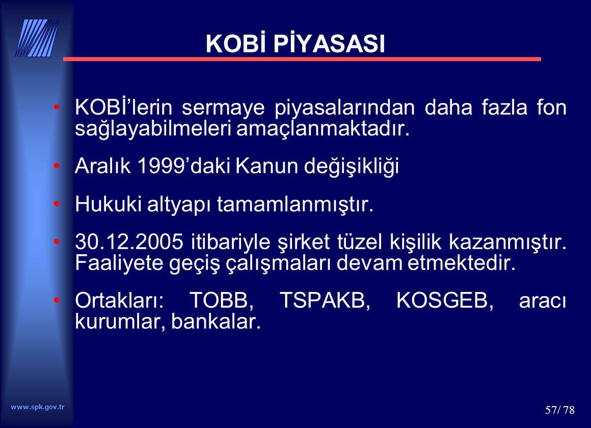 www.spk.gov.tr 57/ 78 KOBİ PİYASASI KOBİ'lerin sermaye piyasalarından daha fazla fon sağlayabilmeleri amaçlanmaktadır. Aralık 1999'daki Kanun değişikl