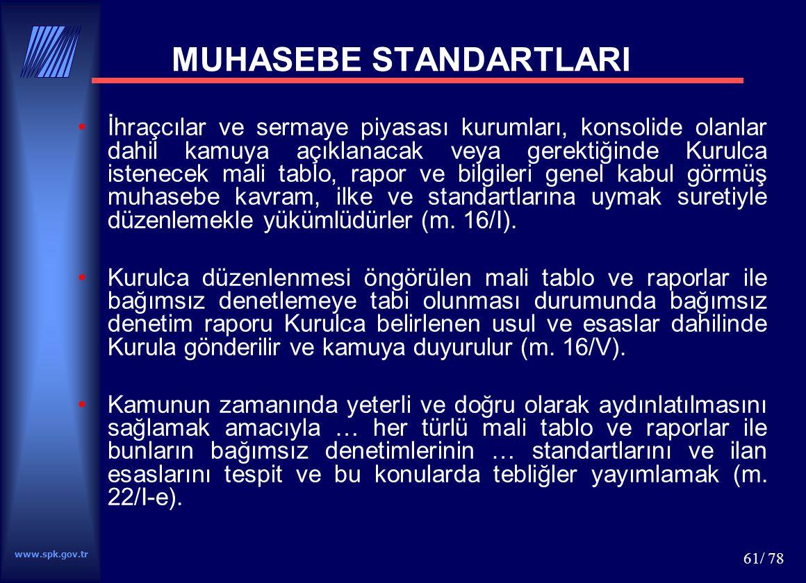 www.spk.gov.tr 61/ 78 MUHASEBE STANDARTLARI İhraçcılar ve sermaye piyasası kurumları, konsolide olanlar dahil kamuya açıklanacak veya gerektiğinde Kur