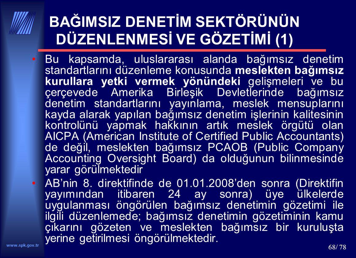 www.spk.gov.tr 68/ 78 BAĞIMSIZ DENETİM SEKTÖRÜNÜN DÜZENLENMESİ VE GÖZETİMİ (1) Bu kapsamda, uluslararası alanda bağımsız denetim standartlarını düzenl