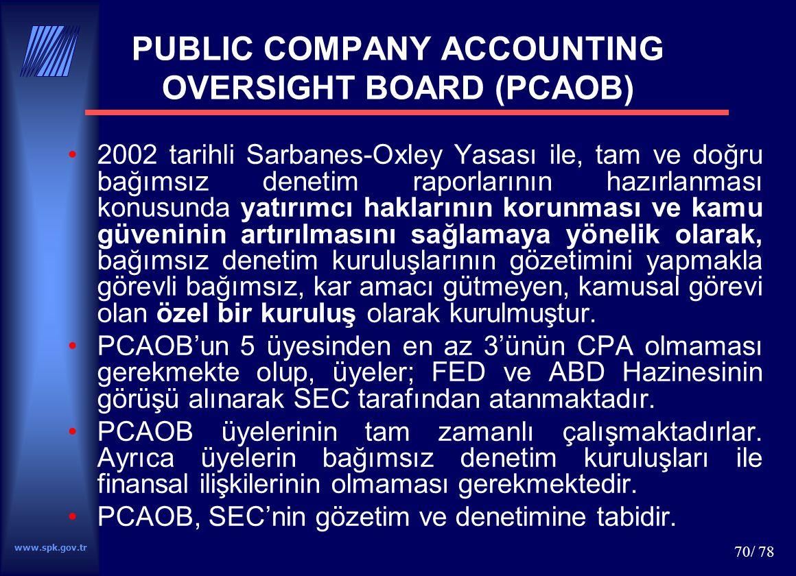 www.spk.gov.tr 71/ 78 DİĞER GELİŞMELER Kanada 2002 yılında Canadian Public Accountibility Board-CPAB İngiltere'de 2003 yılında yapılan bir düzenleme ile Professional Oversight Board of Accountancy- POBA Avrupa Birliği 8'inci Direktifi ve International Federation of Accountants-IFAC'ın standart oluşturma sürecinin izlenmesi amacıyla IOSCO, Bankacılıkla ilgili Basel Komite, Dünya Bankası, Avrupa komisyonu ve IFAC gibi kuruluşların ortak çabaları sonucu kurulan Public Interest Oversight Board-PIOB