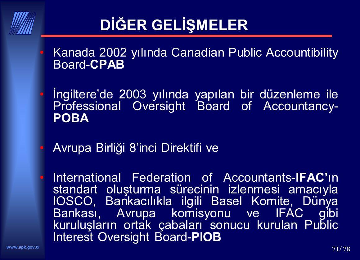 www.spk.gov.tr 71/ 78 DİĞER GELİŞMELER Kanada 2002 yılında Canadian Public Accountibility Board-CPAB İngiltere'de 2003 yılında yapılan bir düzenleme i