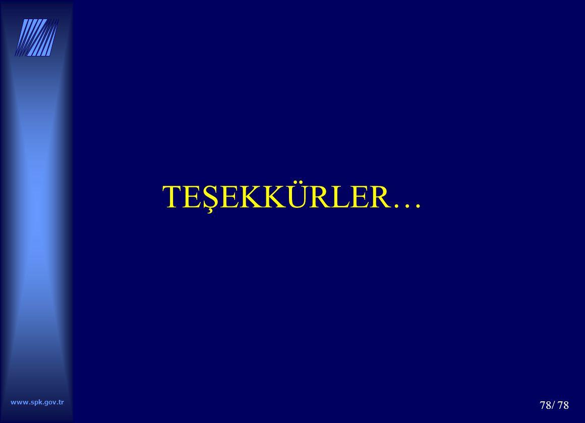 www.spk.gov.tr 78/ 78 TEŞEKKÜRLER…