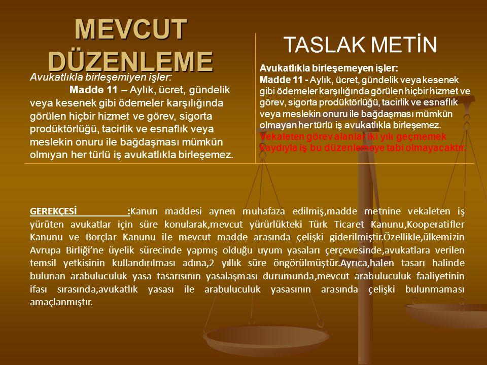 MEVCUT DÜZENLEME TASLAK METİN Avukatlıkla birleşemiyen işler: Madde 11 – Aylık, ücret, gündelik veya kesenek gibi ödemeler karşılığında görülen hiçbir