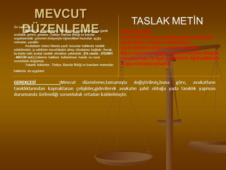 MEVCUT DÜZENLEME TASLAK METİN Sır saklama: Madde 36 – Avukatların, kendilerine tevdi edilen veya gerek avukatlık görevi, gerekse,Türkiye Barolar Birli